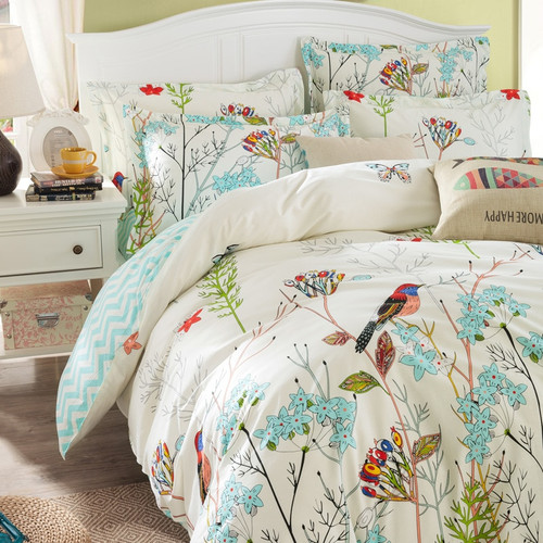 Svetanya Sheet Pillowcase Duvet cover set pastoral Bird printing Bedding sets queen double full Twin size Bedlinen 100% Cotton