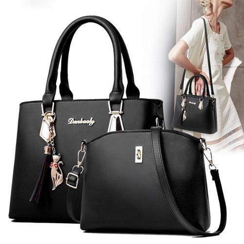 Hot brand women solid bag hotsale party purse ladies messenger crossbody shoulder bags Tassels and kitten ornament