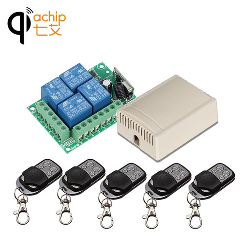 433Mhz Universal Wireless Remote Control Switch DC12V 4CH relay Receiver Module and 5pcs 4 channel RF Remote 433 Mhz Transmitter