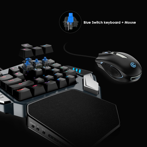 GameSir Z1 Gaming Keypad For FPS Games, One-handed Cherry MX red switch keyboard / Mechanical Blue axis keyboard/BattleDock