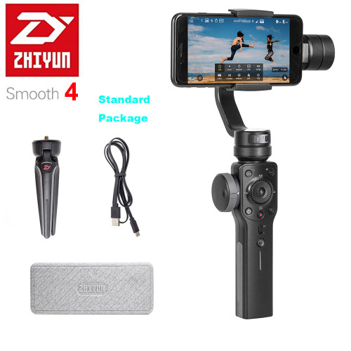 Zhiyun Smooth 4 3-Axis Handheld Smartphone Gimbal Stabilizer for iPhone XS XR X 8Plus 8 7Plus 7 Samsung S9 S8 S7 & Action Camera