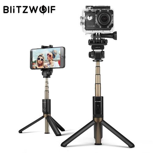 BlitzWolf 4 in 1 Camera Tripod Bluetooth Selfie Stick Wireless Monopod For Sports Camera For iPhone X 8 Smartphone Selfie Sticks