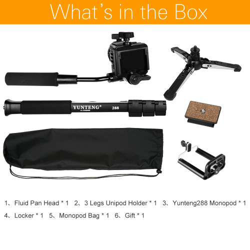 "Yunteng VCT-288 Camera Monopod + Fluid Pan Head + Unipod Holder For Canon Nikon and all DSLR with 1/4"" Mount Free Shipping"