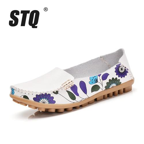 STQ 2018 Autumn women flats genuine leather shoes slip on ballet flats women flats print woman shoes moccasins loafers shoes 170