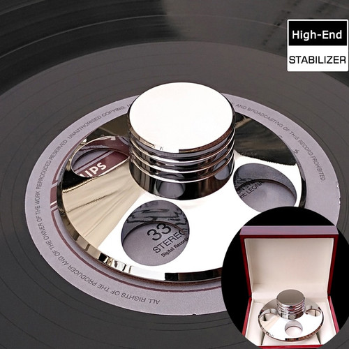 Deluxe High quality Silver LP Vinyl Turntables Metal Disc Stabilizer Record Weight/Clamp With Wooden Package Box