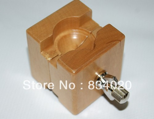 Square Wooden Watch Case& Movement Holder clamp repairing vintage Watch Battery Changing Tool(Max.40mm)