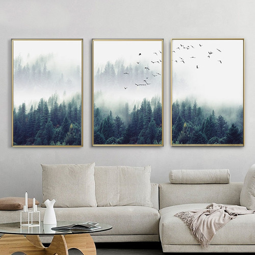 FGHGF Nordic Forest Lanscape Wall Art Canvas Poster and Print Canvas Painting Decorative Picture for Living Room Home Decor Item