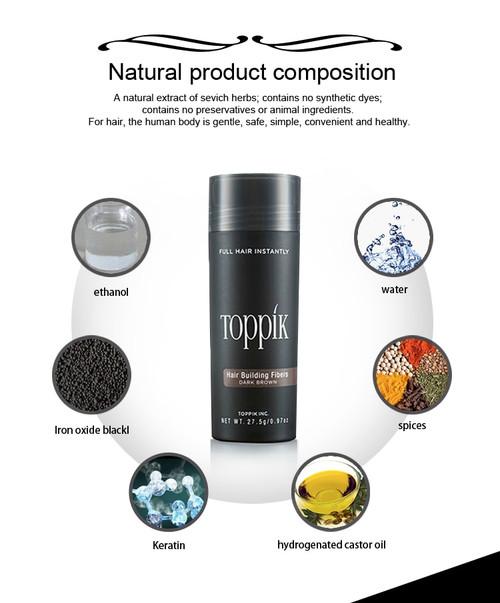Instant Hair Growth Fiber Keratin Hair Fibers 27.5g TOPPIK comb optimizer applicator Hair loss treatment