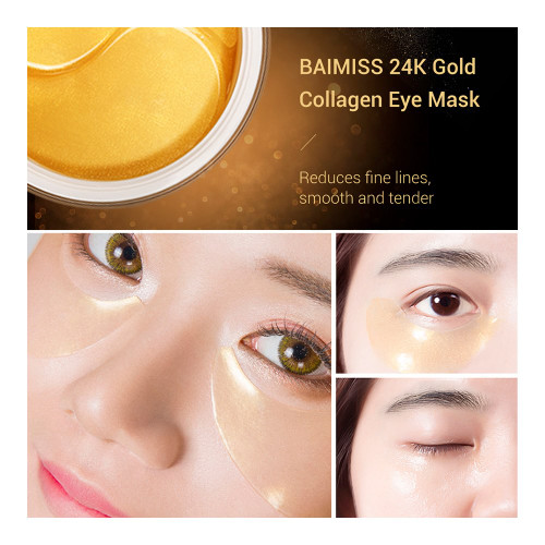 BAIMISS 24K Gold Gel Eye Mask Collagen Anti Wrinkle Remove Dark Circles Eye Patches Sleep Mask Moisturizing Skin Care Face 60PCS