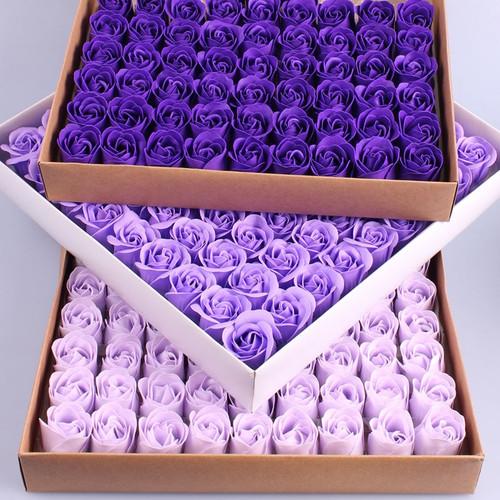 81 PCS 3 layers 4cm monochrome Color Heart-Shaped Rose Soap Flower Romantic Wedding Party Gift Handmade Petals Decor