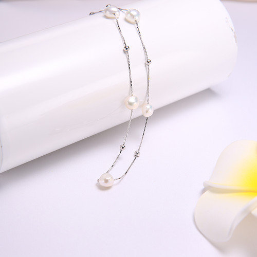 DAIMI Silver Necklace 925 Sterling Silver Simple Chain Floating Pearl Necklace Charm Wedding Event Choker Necklace Fine Jewelry