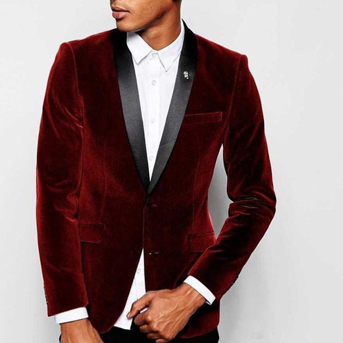 Cheap Custom Velvet Wedding Suits Groomsmen Tuxedos Black Shawl Lapel Slim Fit Business Evening Party Suits (Jacket+Pant)