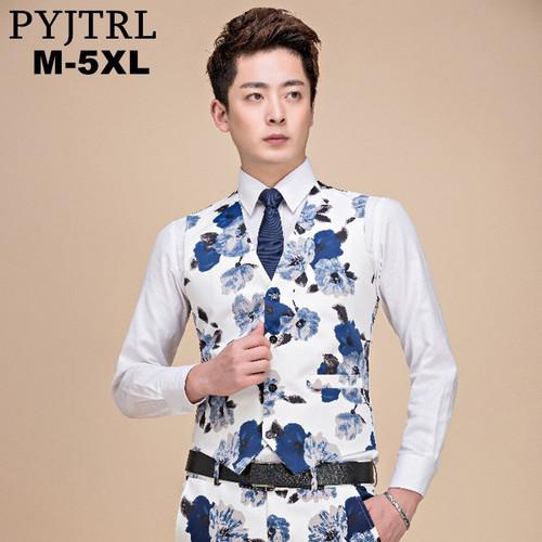 PYJTRL 2018 Plus Size 5XL Men Dress Suit Vest Formal Floral Print Gilet Slim Fit Business Sleeveless Jacket Tops Homme Waistcoat