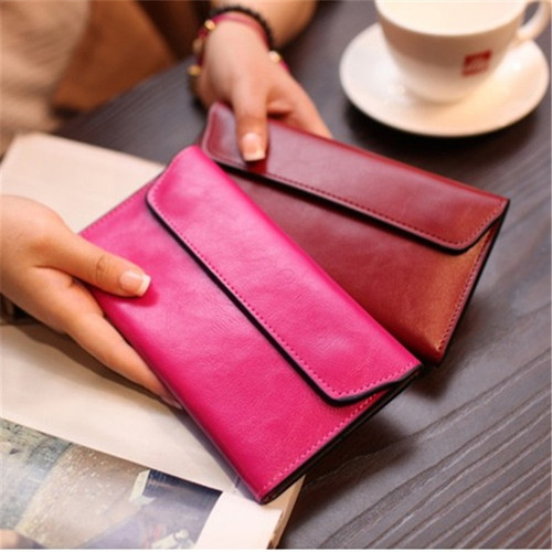 Magnetic Buckle Long Genuine Leather Women Wallet Female Clutch Bags Cow Leather Coin Purse Credit Card Holder Quality carteira