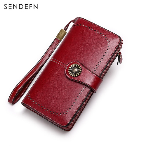 SENDEFN Hot Sale Women Clutch Leather Wallet Female Long Wallet Women Zipper Purse Strap Money Bag Purse For iPhone 7 5162-67