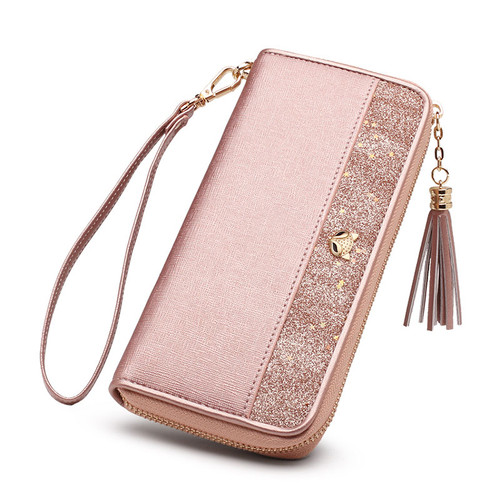 FOXER Brand Women's Cow Leather Long Wallets with Wristle Luxury Female Purse Lady Clutch Cellphone bag fit Iphone 8 Plus