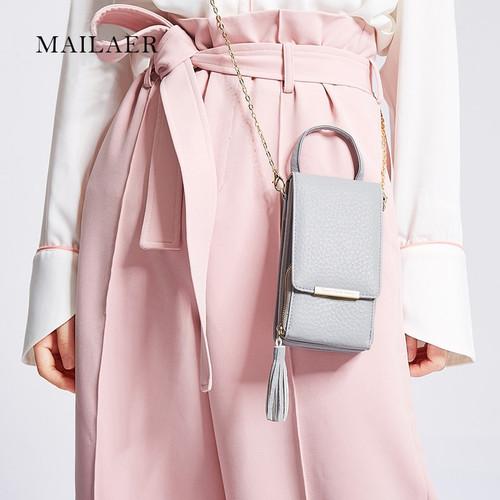 MAILAER 2018 New Ms. Shoulder Bag Messenger Chain Mobile Phone Bag Fashion Tassel Mobile Purse Bag