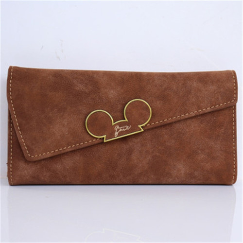 Women Wallets Faux Leather Long Section Hasp Purse Mickey Head Oblique Cover Type Three Fold Clutch Coin Pocket Card Holder