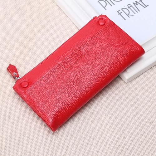 Women Wallets 100% Soft Genuine Cow Leather Zipper Wallet Lady's Fashion Casual Long Design Phone Change Purse Money Bag 741