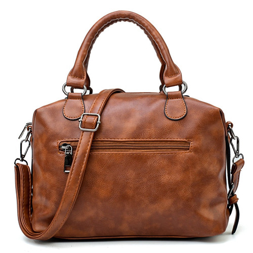 Brown Vintage Fashion Casual Tote Boston Bags Handbags Women Famous Brands Luxury Pu Leather Women Bag Female Shoulder Bags 2018