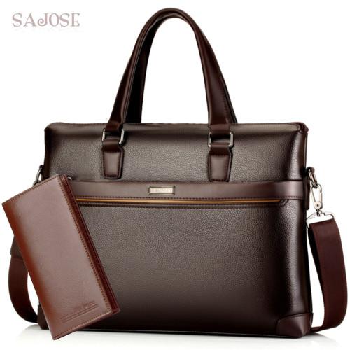 Man's Leather Bag Business Men Bags Laptop Tote Briefcases Male Crossbody Bags Shoulder Handbag High Quality Men's Messenger Bag