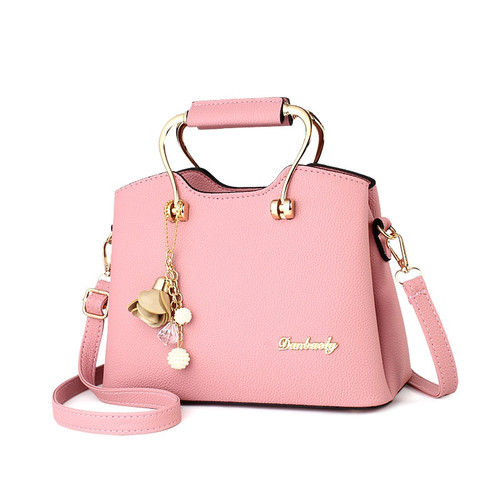2018 New Fashion Women Handbags Metal Pendant High Quality PU Leather Top-Handle Bag Brief Women Large Capacity Shoulder Bag