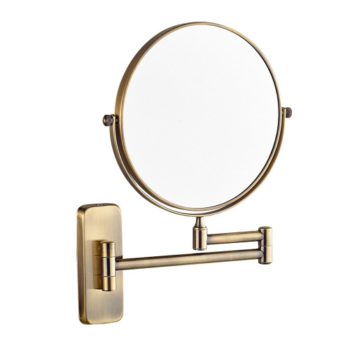"GURUN 8"" 10X/1x Magnifying Dual Sided Bathroom Folding Shaving Makeup Mirrors Wall Mount Extendable Arm Round Antique Bronze 7x"