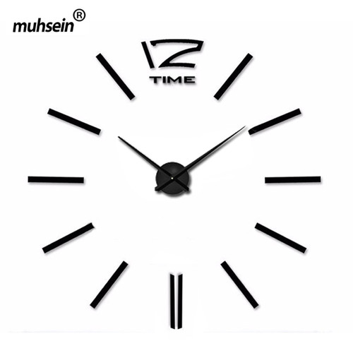 Freeshipping Home Decoration 2018 New  Wall Clock Creative Modern Sticker Unique black Big DIY 3D Digital Mirror Art Wall Clocks