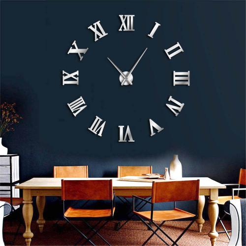 1Piece Modern Design DIY Large Decorative 3D Wall Clocks Reloj Pared Adhesivo Roman Numerals Mirror Big Clocks Stickers Watches