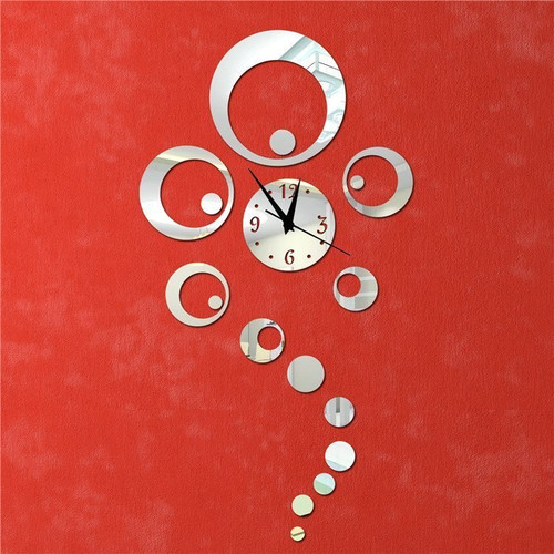 New arrival acrylic mirror stickers watch diy wall clock Home Decoration Quartz Living Room Large table free shipping
