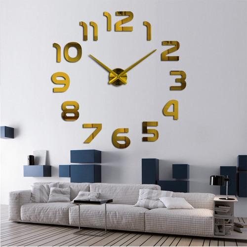 Fashion 3d big wall clock modern design home decor mirror wall watch stickers living room creative reloj de pared free shipping