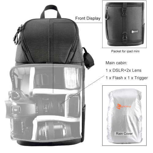 Black Ychaoya Digital DSLR Camera Bag Wuzp Sizing: 332417cm Triangle Shape Tscope Sling Shoulder Cover Digital Camera Bags Case Sonant Bag with Rain Cover for Canon for Nikon for Sony