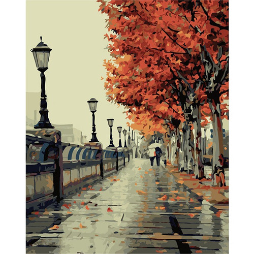 Diy digital oil painting by numbers paint drawing coloring by number canvas hand painted modular picture wall decor Street