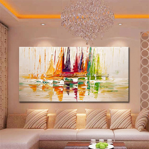 Canvas oil painting caudros decoracion Acrylic boat sailing abstract painting wall art picture for living room home decor quadro