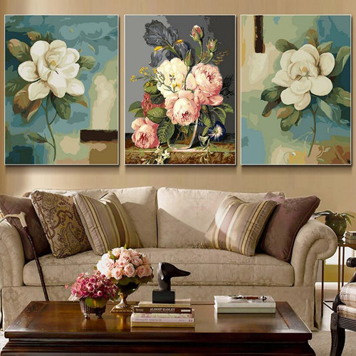 3 Pcs/Set Elegant Flower Picture Painting By Numbers Modern Wall Art Picture DIY Hand Painted Canvas Coloring Home Decor 2017