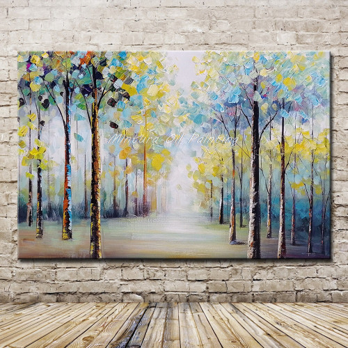 Mintura Art Large Size Hand Painted Trees Landscape Oil Painting on Canvas Wall Art Pictures For Living Room Home Decor No Frame