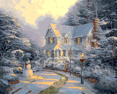 Winter snow villa Christmas Picture Home Decor no frame Painting picture By Numbers Handwork Draw On Canvas Living Room Wall Art