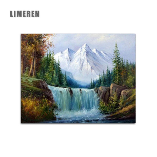 Diy Painting By Numbers Forest Waterfall Landscape Picture Hand Painted Canvas Oil Paintings For Living Room Wall Art