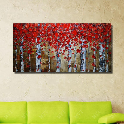 Modern Living Room Wall Decor Beautiful Red Tree Oil Painting Modern Canvas Art Hand Painted Wall Pictures No Framed