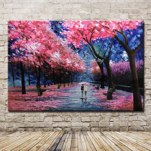 Mintura Art 100% Hand Painted Knife Red Landscape Oil Painting On Canvas For Living Room Home Decor Wall Art Pictures Original
