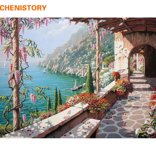 CHENISTORY Fairyland Landscape Wall Art Painting By Numbers Home Decoration Hand Painted DIY Paint By Numbers 40x50CM Artwork