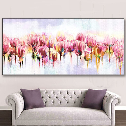 Hand Painted Flowers Oil Painting on Canvas Handmade Acrylic Floral Paintings Large Pink Tulip Flower Pictures Home Wall Art