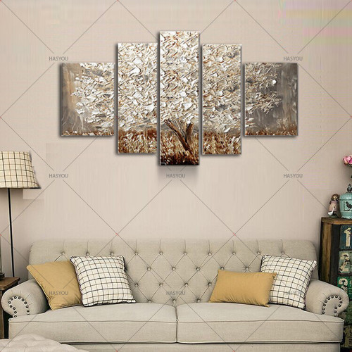 5 panels Abstract Silver Tree oil Painting 100% Hand Painted Canvas Art Acrylic Modern Wall Art Picture For Home Wall Decor