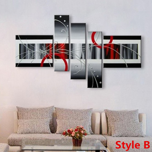 Hand Painted Abstrac Lines Oil Paintings on Canvas Modern Home Decor Wall Artwork Large 5 Panel Graffiti Painting
