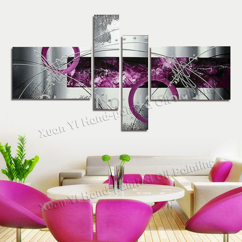 4 Panel Canvas Art Modern Pictures Abstract Oil Painting On Canvas Wall Pictures For Living Room Home Decoration(No Frame)
