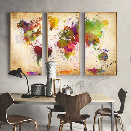 3 Panel Canvas Wall Art Abstract Oil Painting Watercolor World Map Canvas Pictures For Living Room Canvas Print Unframed BR0063