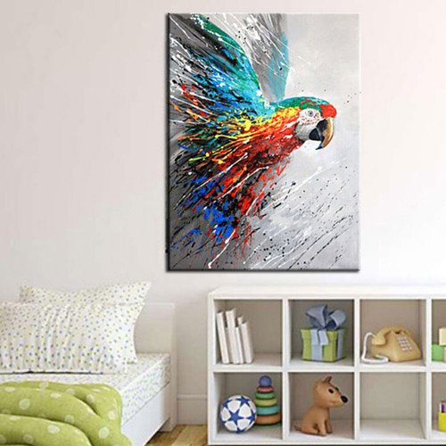 Modern Home Decor Wall Art Handmade Funny Colorful Parrot Pictures Hand Painted Large Abstract Cartoon Oil Paintings on Canvas