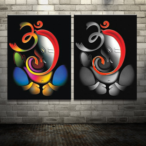 100% Hand-painted Om Ganesha Ganpati Oil Painting On Canvas Abstract Cartoon Oil Painting Wall Art Home Decoration Fine Picture