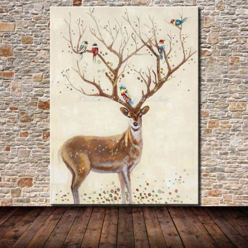 Mintura Hand Painted Wall Art Decoration Picture Modern Abstract Animal Oil Painting Deer Wall Canvas Pictures for Living Room