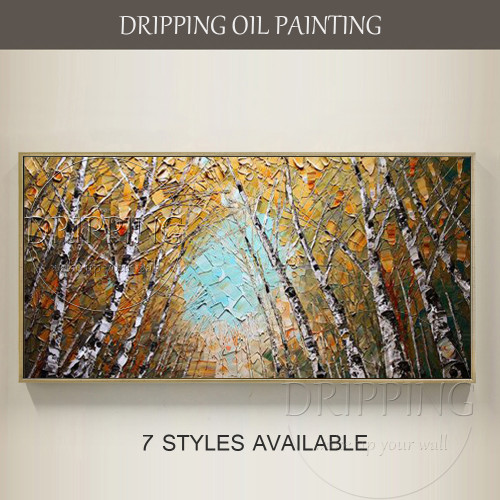 Kinds of Forest Birch Oil Painting for Wall Decor Artist Hand-painted High Quality Modern Birch Tree Oil Painting on Canvas